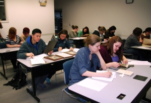 Students working with some of our manuscript facsimiles.
