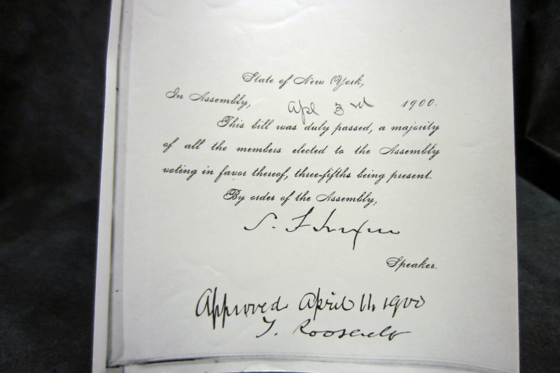Theodore Roosevelt's Signature establishing The NYS School of Clay-working & Ceramics at Alfred