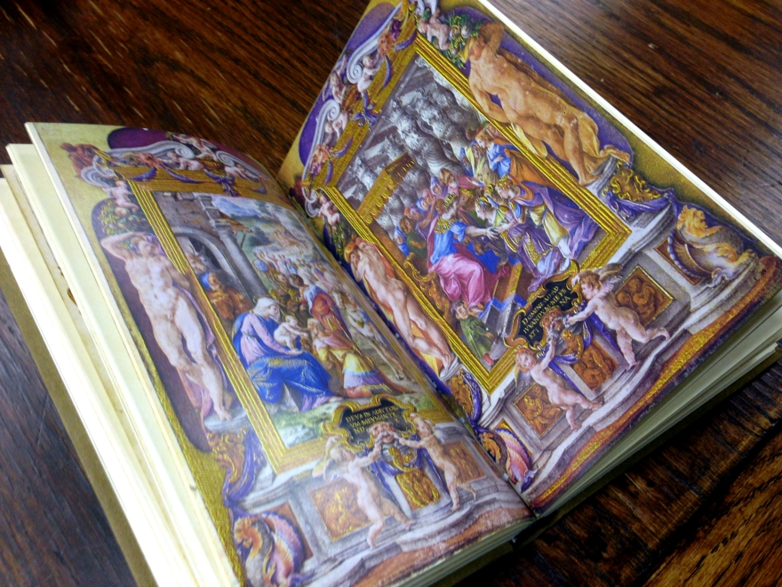 A two page spread from the facsimiles of the Farnese Hours, a Renaissance manuscript. Spec. Coll. ND3363 F35 C57 1976