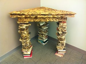 Table made of books